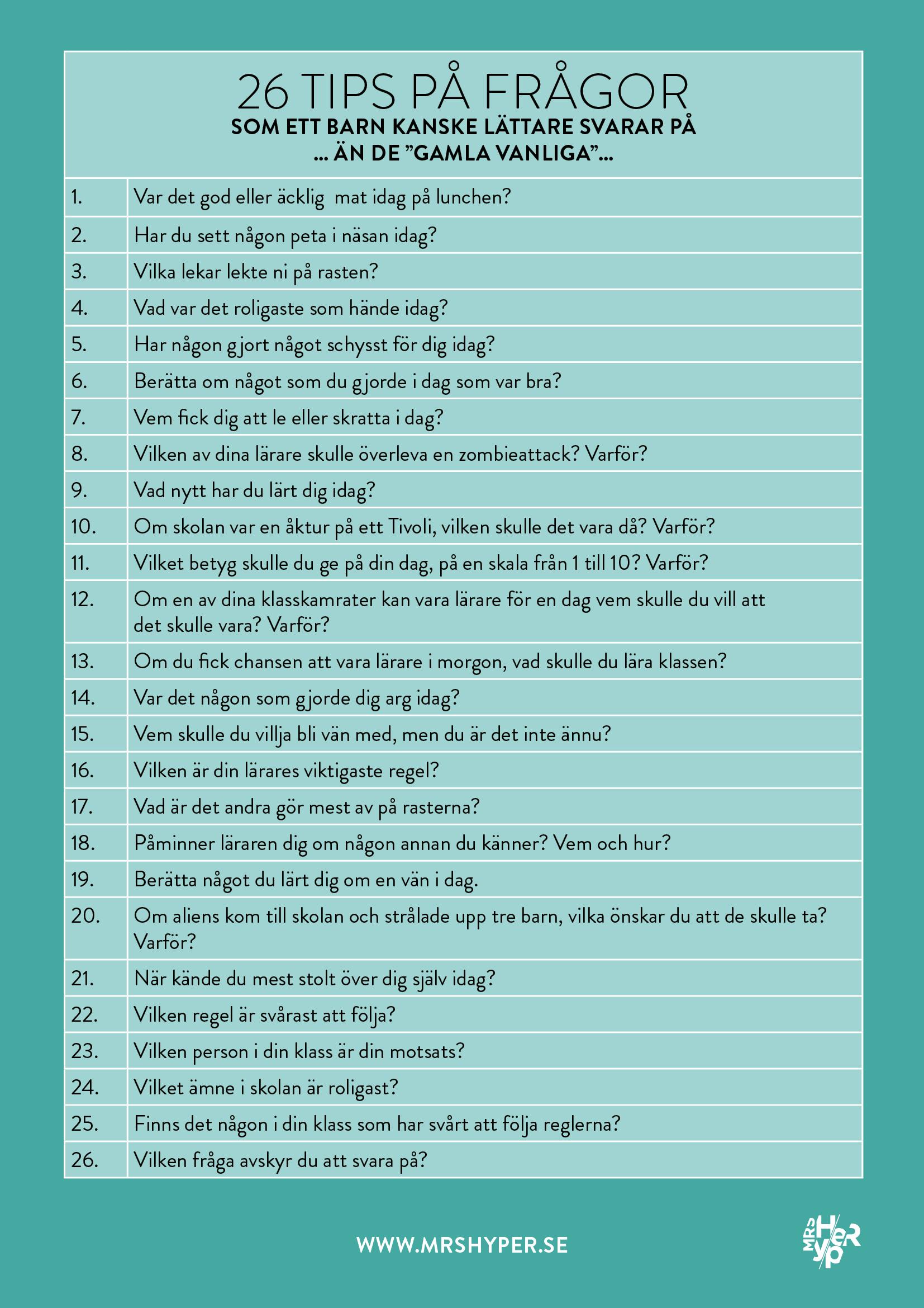 26 tips på frågor