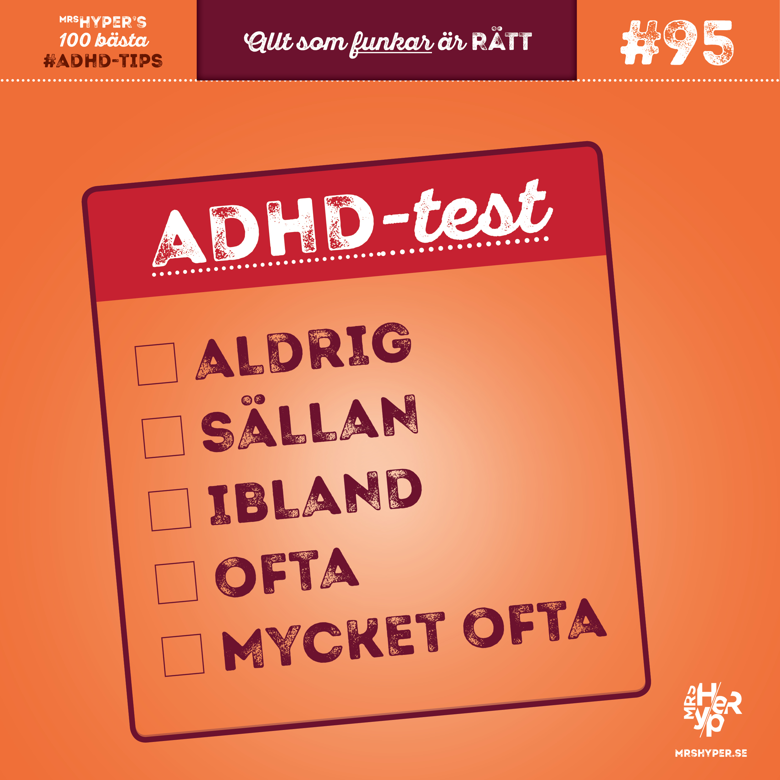 ADHD-tips #95. Har du testat dig själv om du har ADHD?