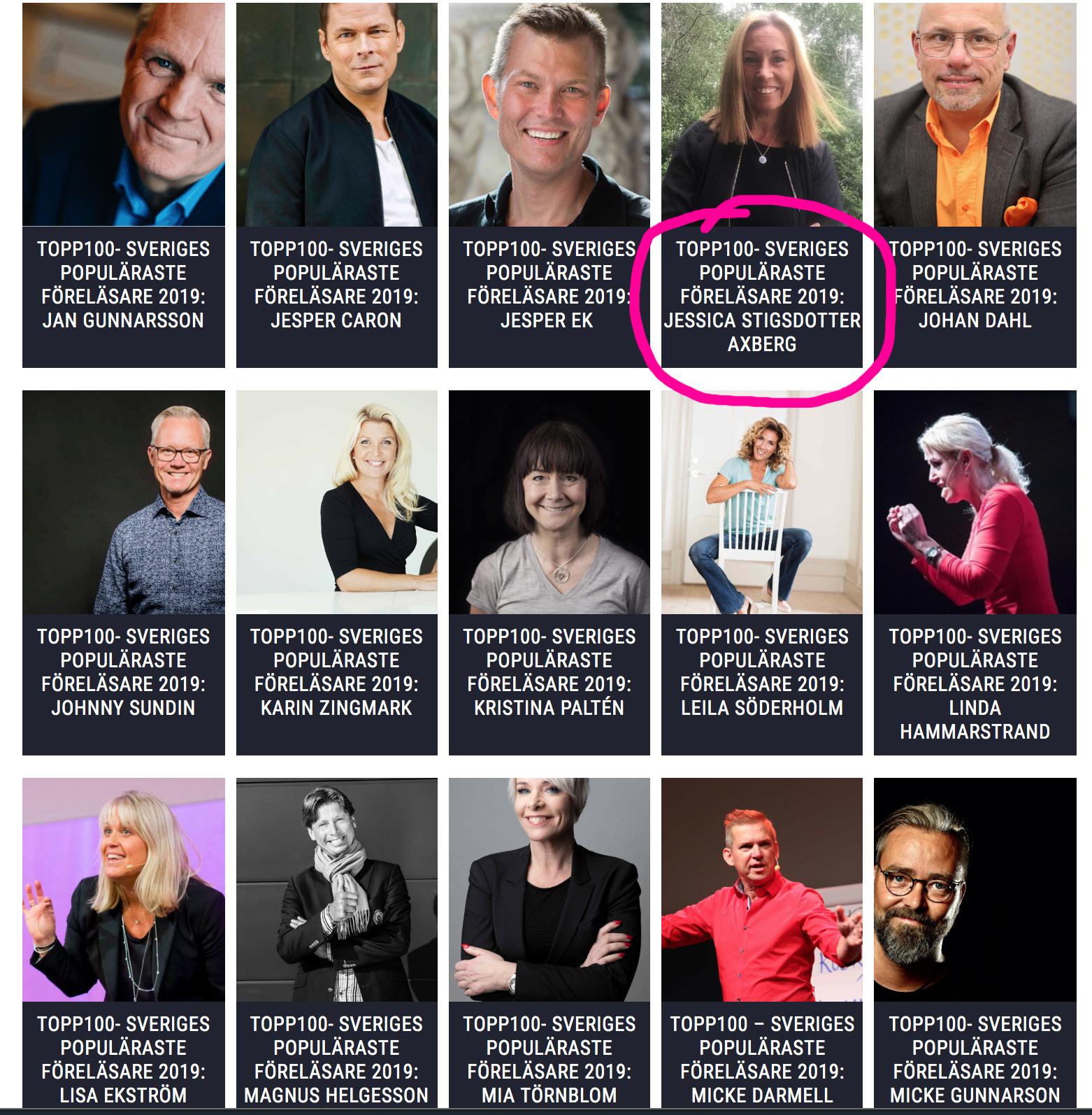 """Jag är med på listan """"Topp100 – Sveriges populäraste föreläsare 2019"""""""